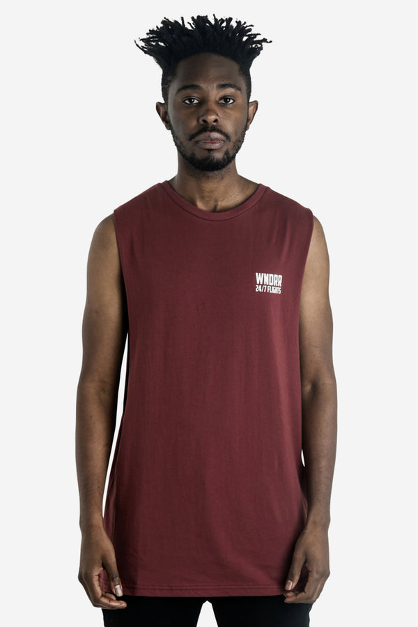 FLIGHTS MUSCLE TOP - BURGUNDY