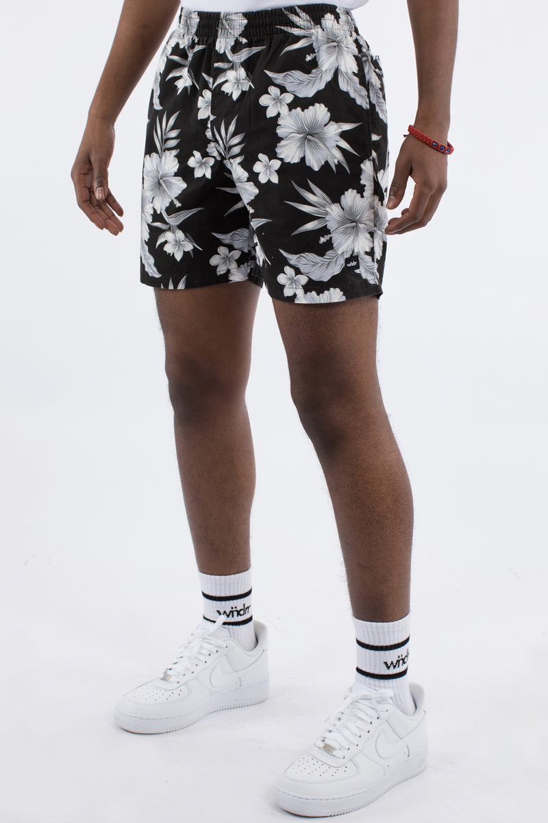 HOLIDAY FLORAL BEACH SHORT - BLACK FLORAL