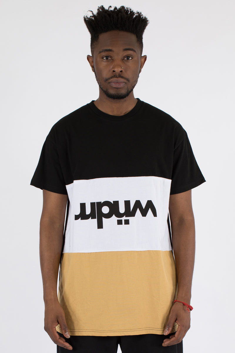 DELHI 3 PANEL TEE - BLACK/WHITE/TAN