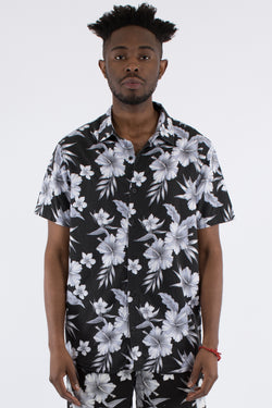 HOLIDAY FLORAL S/S SHIRT - BLACK