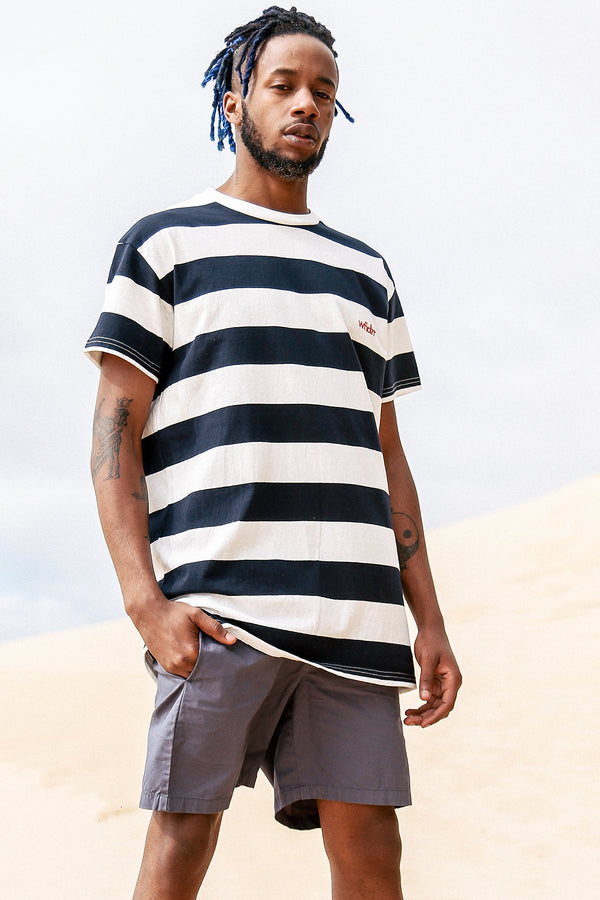 ACADEMY STRIPE CUSTOM FIT TEE - WHITE/NAVY STRIPE
