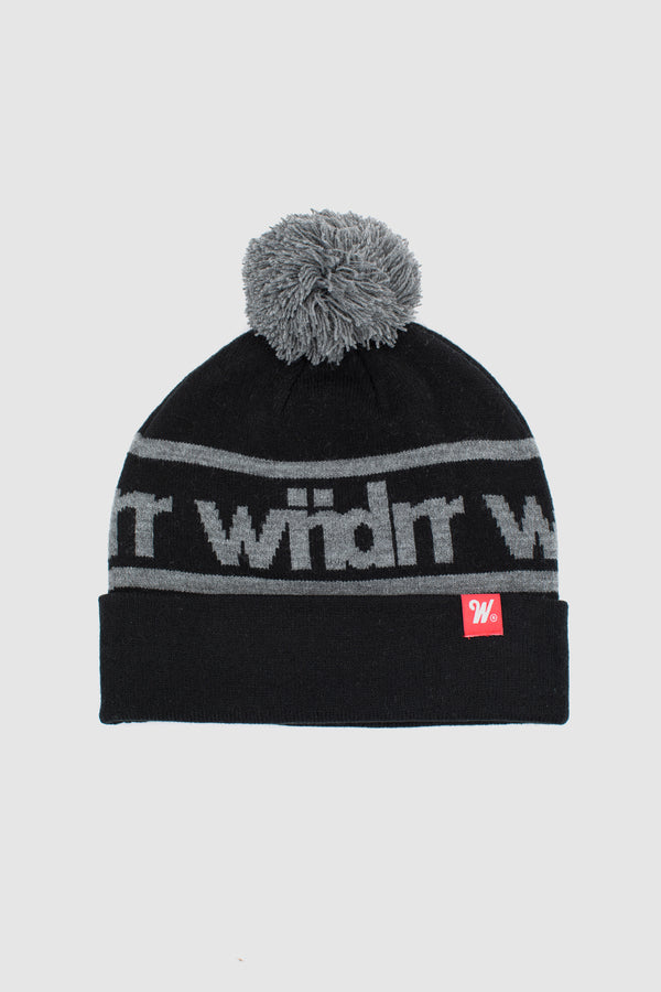 HARWOOD POM POM BEANIE - BLACK/GREY