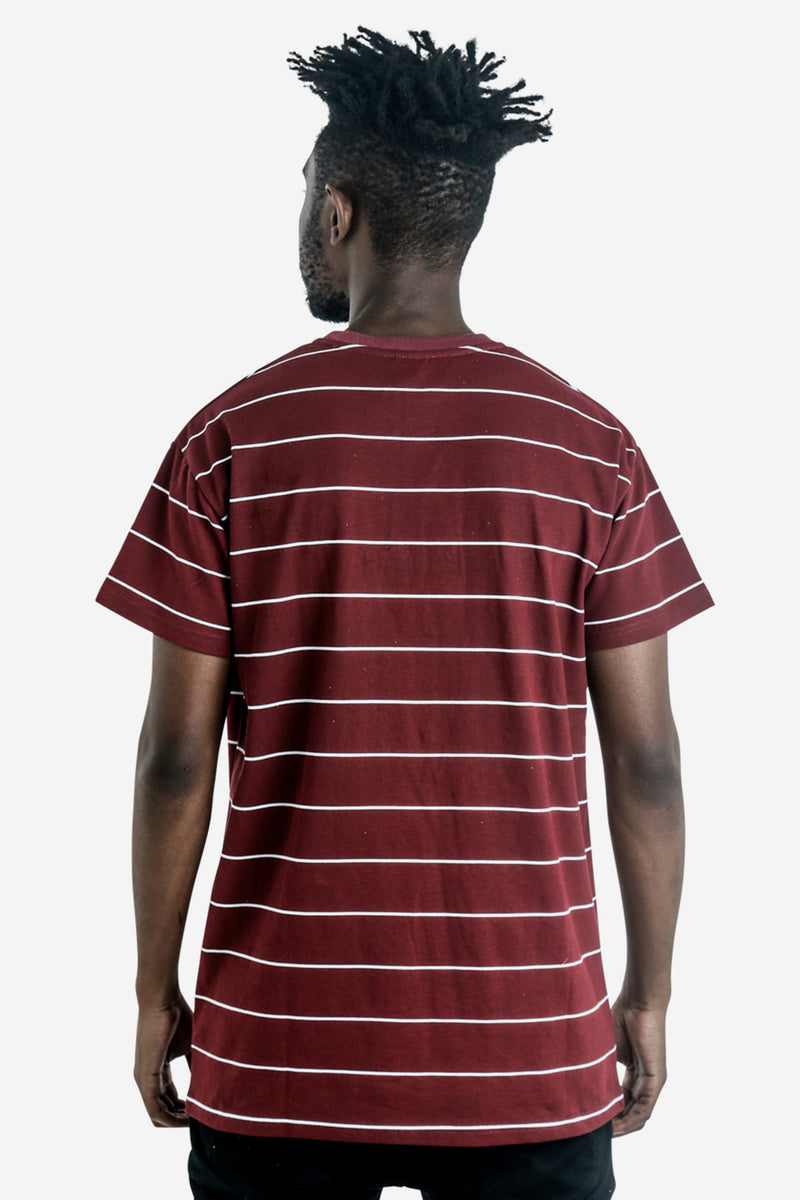 SIXERS STRIPE CUSTOM FIT TEE - BURGUNDY/WHITE STRIPE