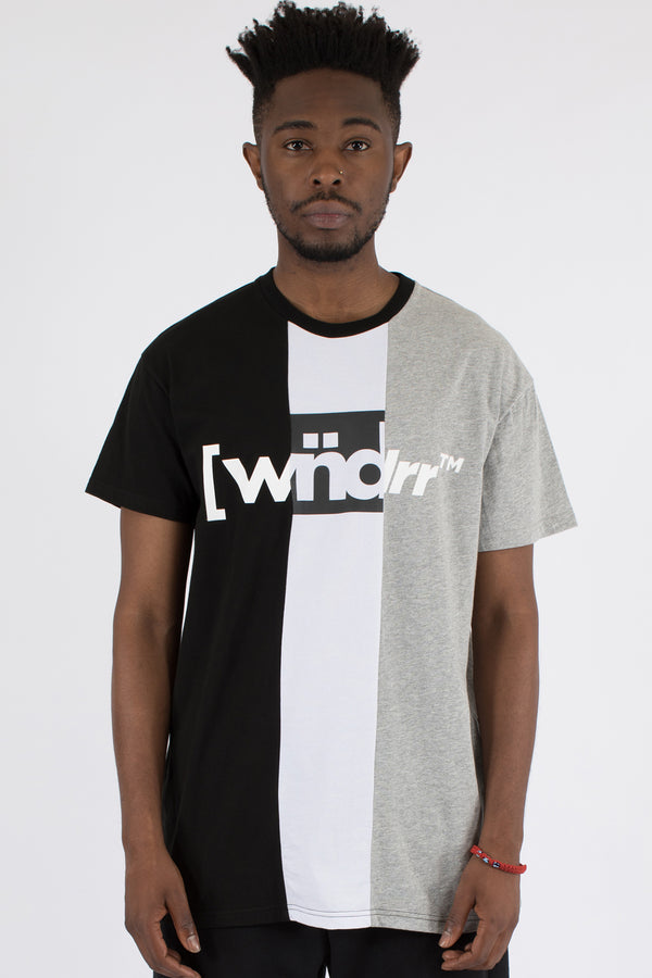 3 PEAT VERT PANEL TEE - BLACK/WHITE/GREY