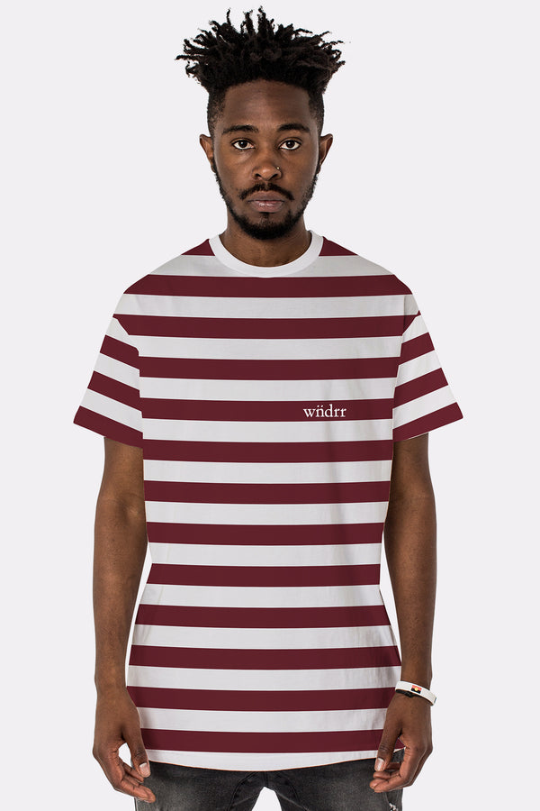 CABIN STRIPE CUSTOM FIT TEE - BURGUNDY/WHITE STRIPE