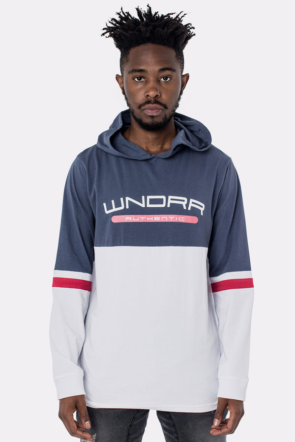 REDEEM L/S HOODED TEE - NAVY/WHITE