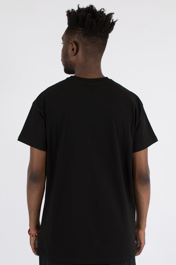 SPLIT ACCENT CUSTOM FIT TEE - BLACK