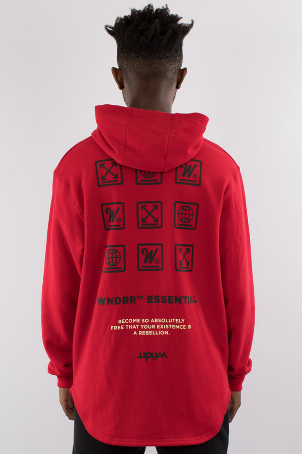 DISPERSE CURVED HEM HOOD SWEAT - RED