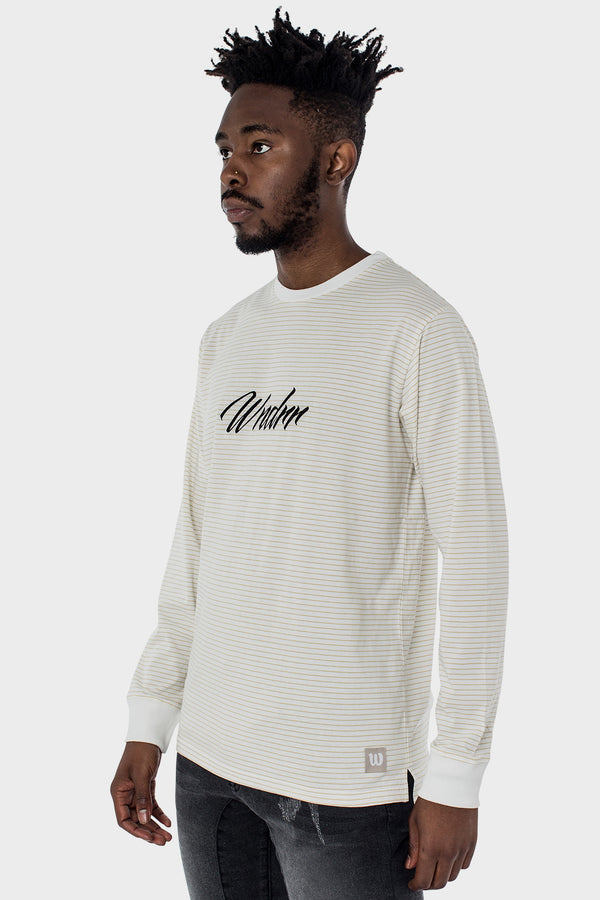 LONGHAND STRIPE L/S TEE - WHITE/TAN STRIPE