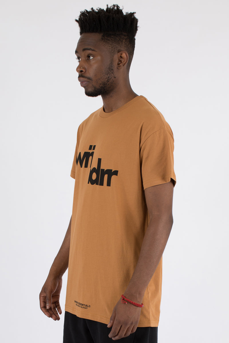 SPLIT ACCENT CUSTOM FIT TEE - ALMOND