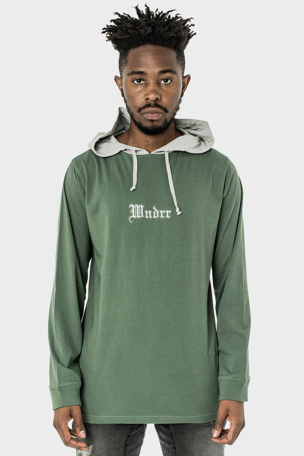 RESOLUTION L/S HOODED TEE - BOTTLE GREEN