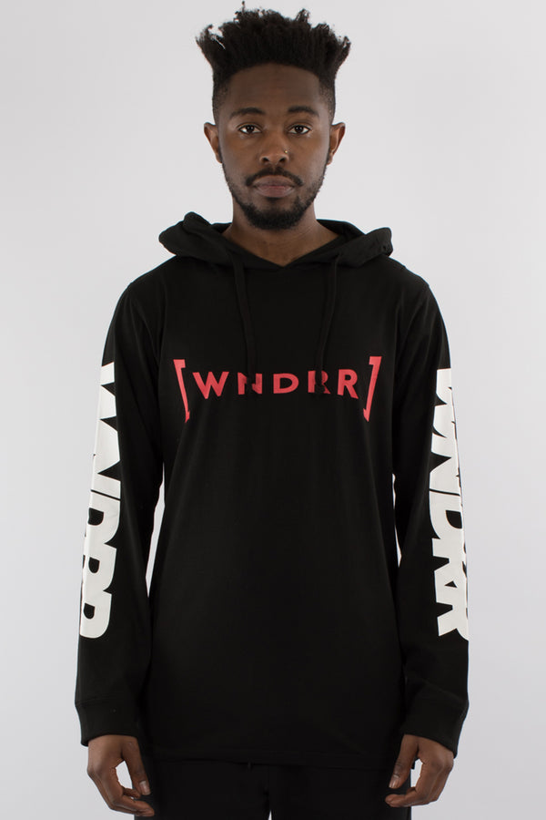 FORCE L/S HOODED TEE - BLACK