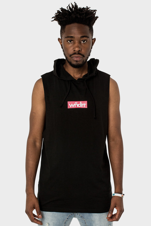 STAPLE HOODED MUSCLE TOP - BLACK