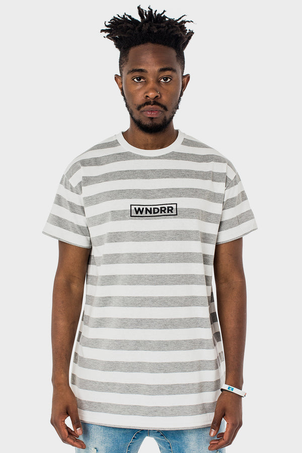 GHOST STRIPE CUSTOM FIT TEE - WHITE/GREY STRIPE