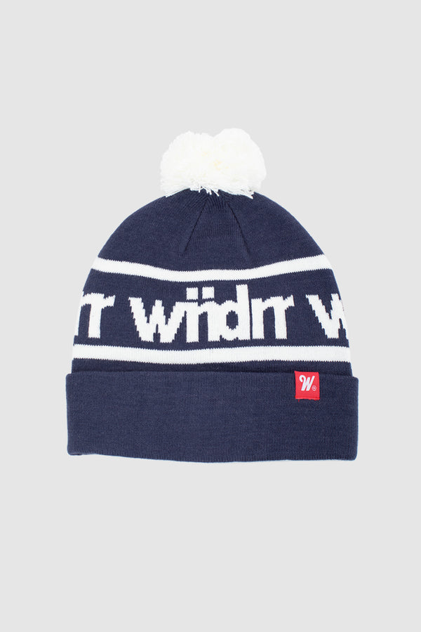 HARWOOD POM POM BEANIE - NAVY/WHITE