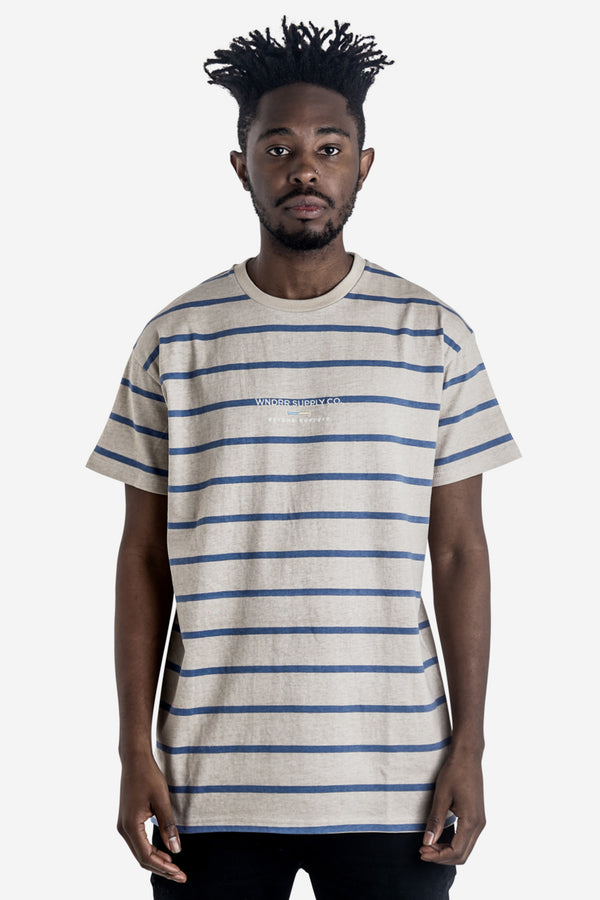 SUPPLY CO. STRIPE CUSTOM FIT TEE - TAN/BLUE STRIPE