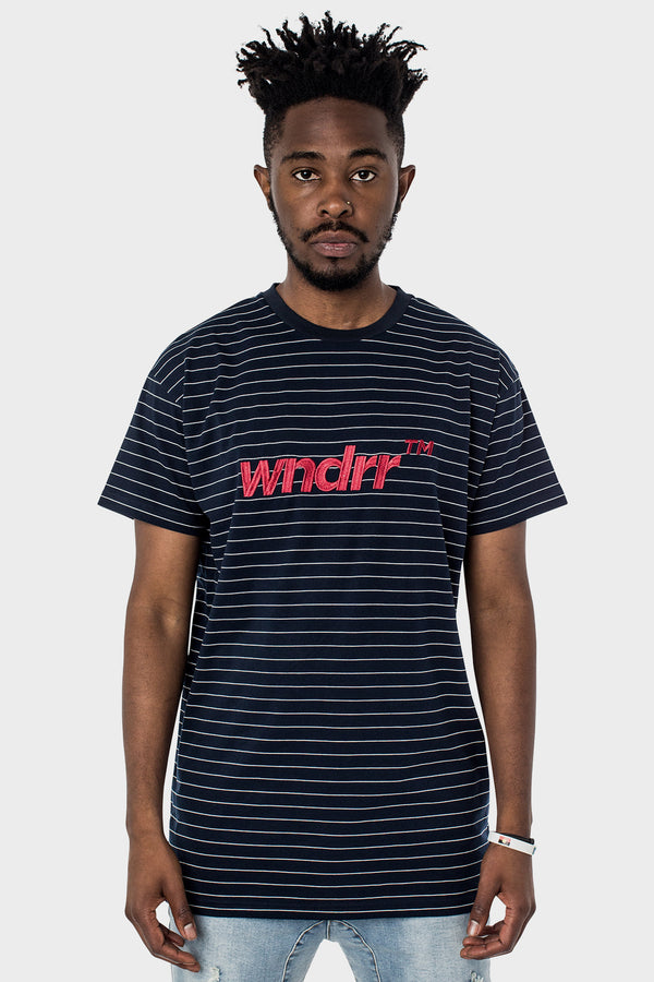 IDENTITY STRIPE CUSTOM FIT TEE - NAVY/GREY STRIPE