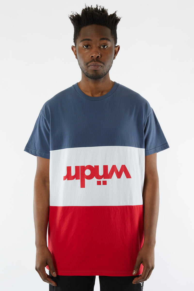 LONDON PANEL CUSTOM FIT TEE - NAVY/WHITE/RED
