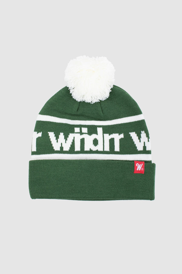 HARWOOD POM POM BEANIE - GREEN/WHITE