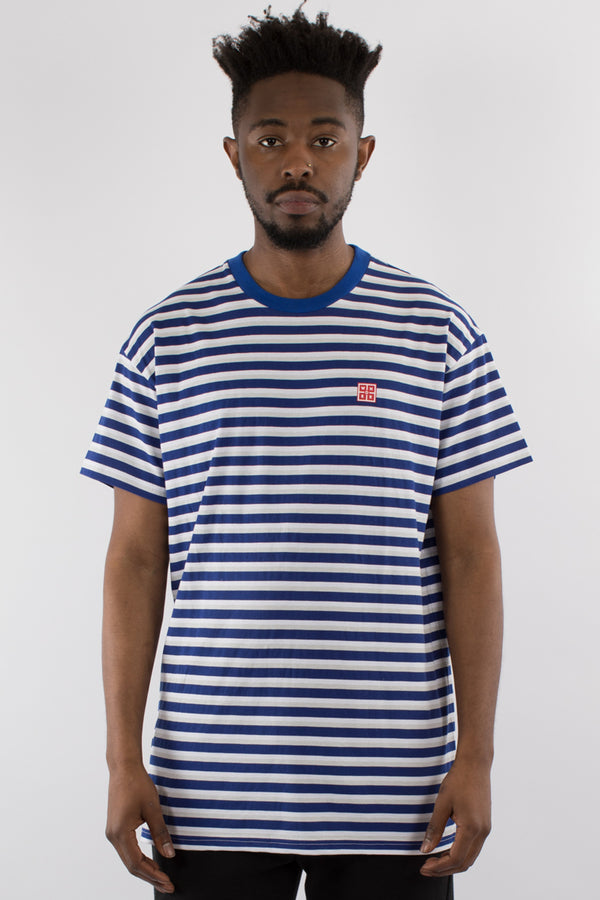 VAPOR STRIPE CUSTOM FIT TEE - NAVY/GREY/WHITE