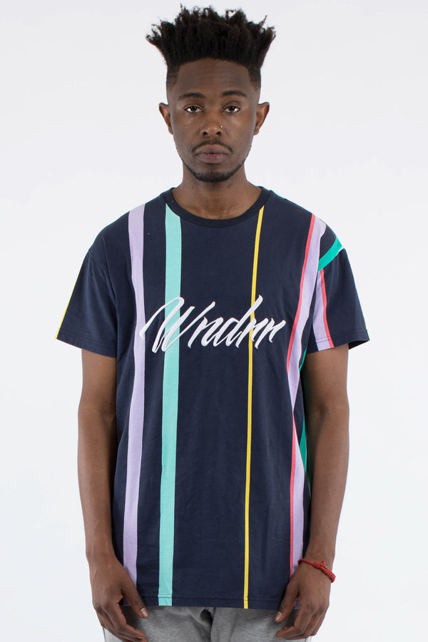 VESPER VERT STRIPE CUSTOM FIT TEE - MULTI