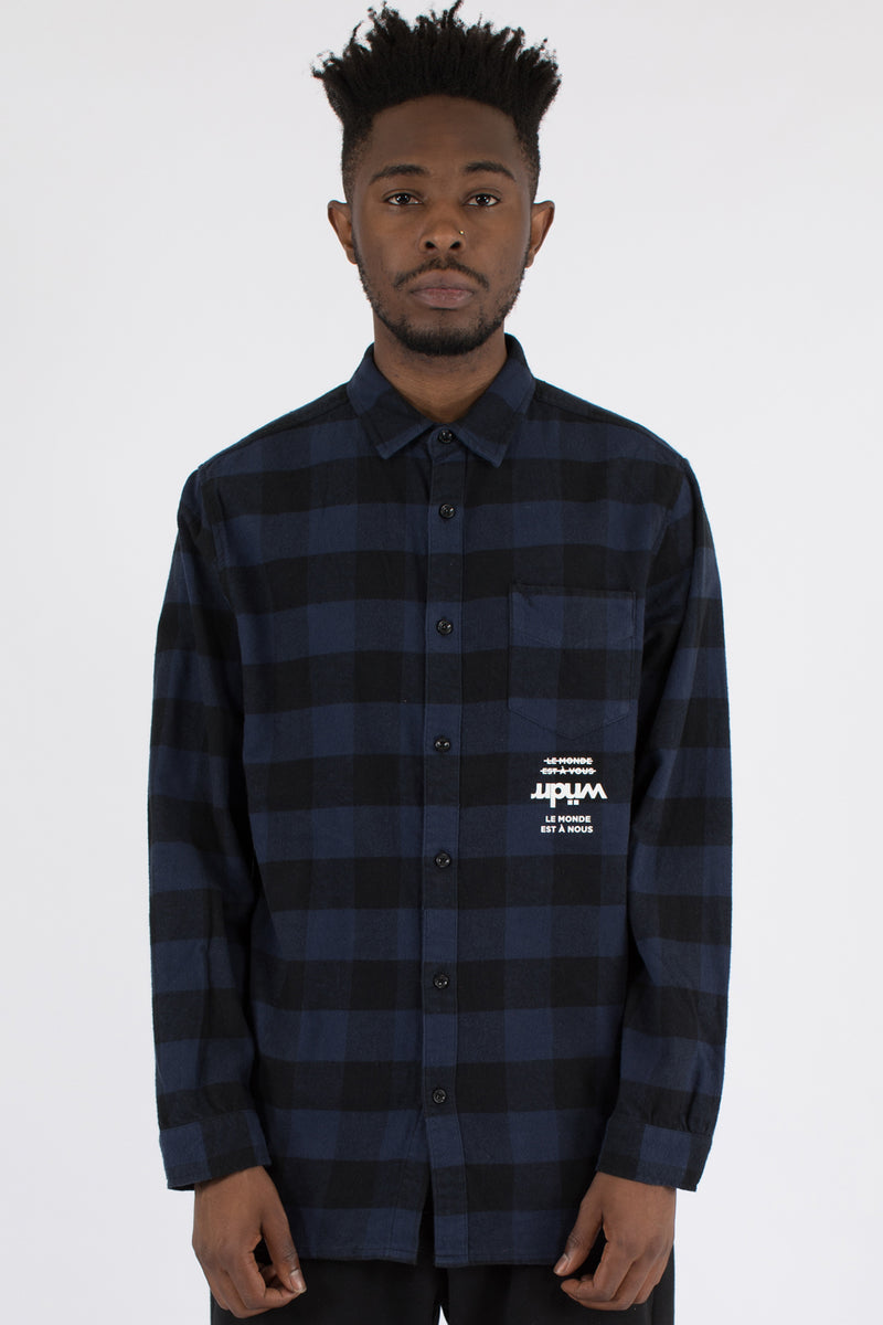 PURE L/S CHECK OVER SHIRT - NAVY/BLACK