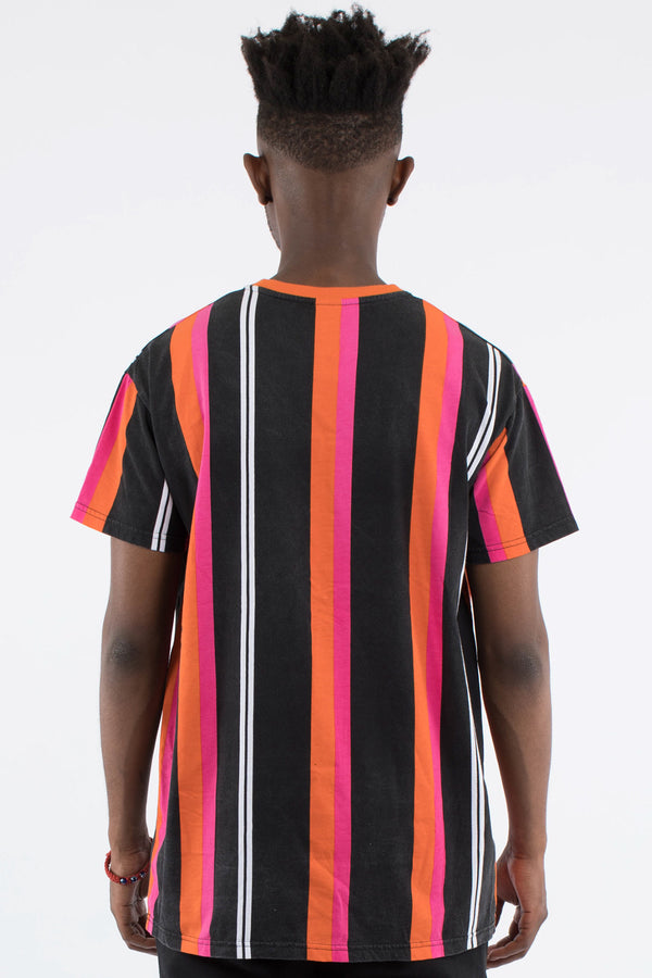 OMARI VERT STRIPE CUSTOM FIT TEE - MULTI