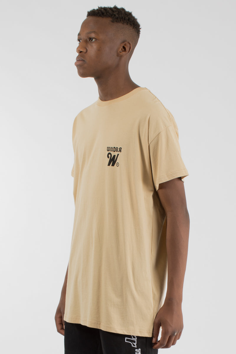 CUT ACROSS CUSTOM FIT TEE - TAN