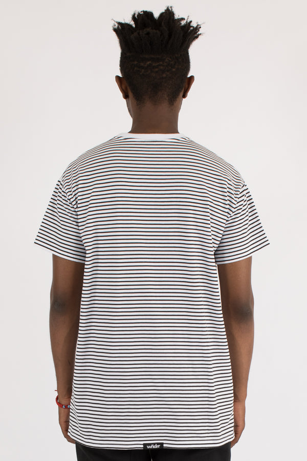OVERPASSED STRIPE CUSTOM FIT TEE - WHITE/BLACK