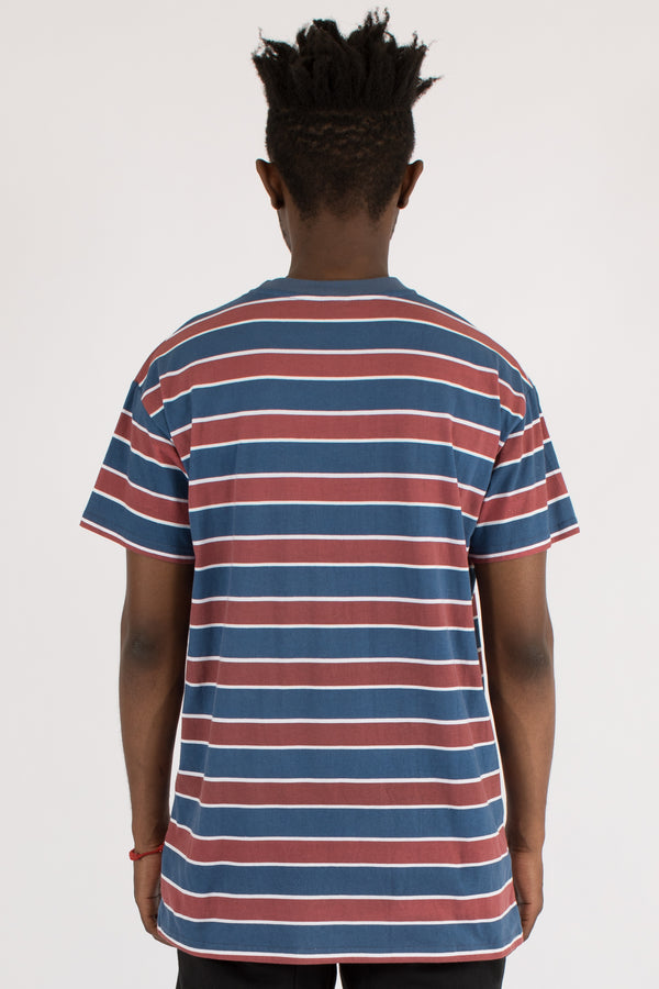 EQUIPPED STRIPE CUSTOM FIT TEE - NAVY/BURGUNDY