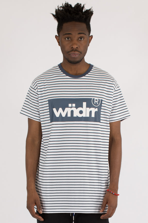 MINISTRY STRIPE CUSTOM FIT TEE - WHITE/NAVY