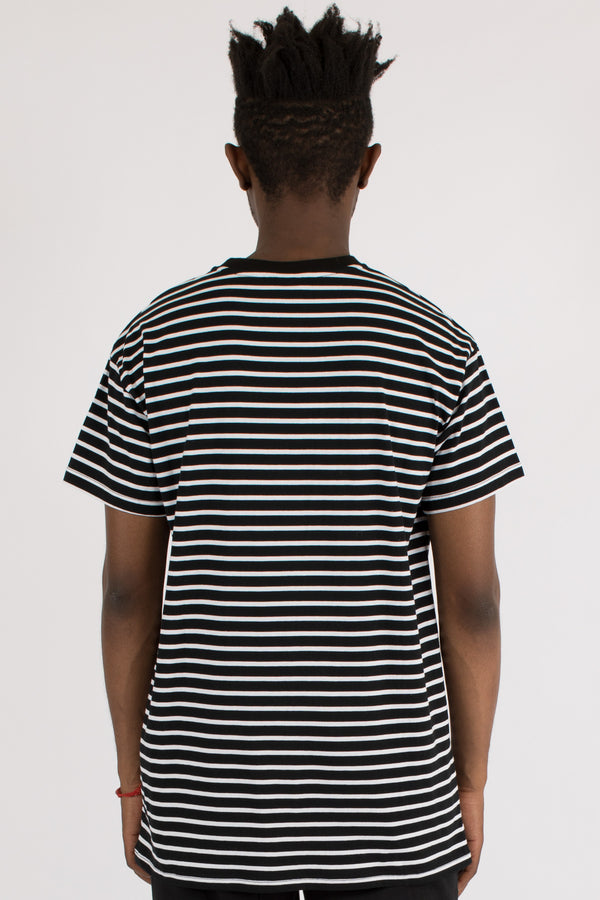 COMPLEX STRIPE CUSTOM FIT TEE - BLACK/WHITE