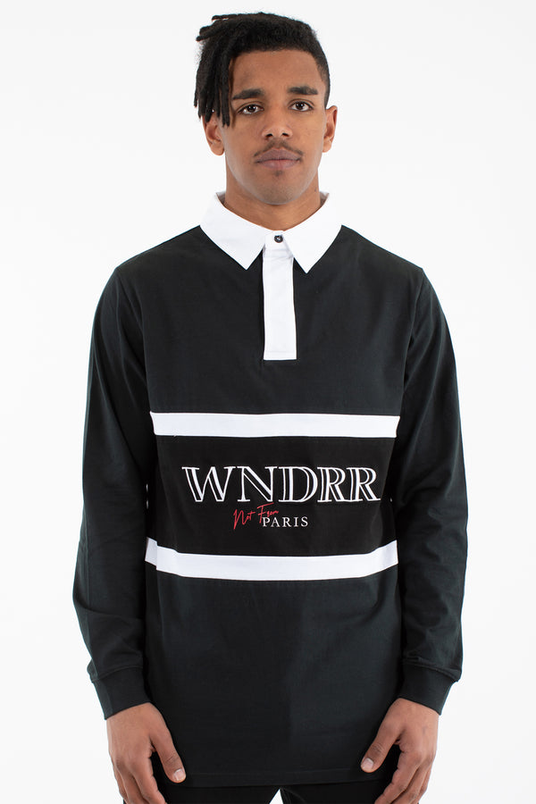 PIERRE L/S RUGBY POLO TOP - BLACK