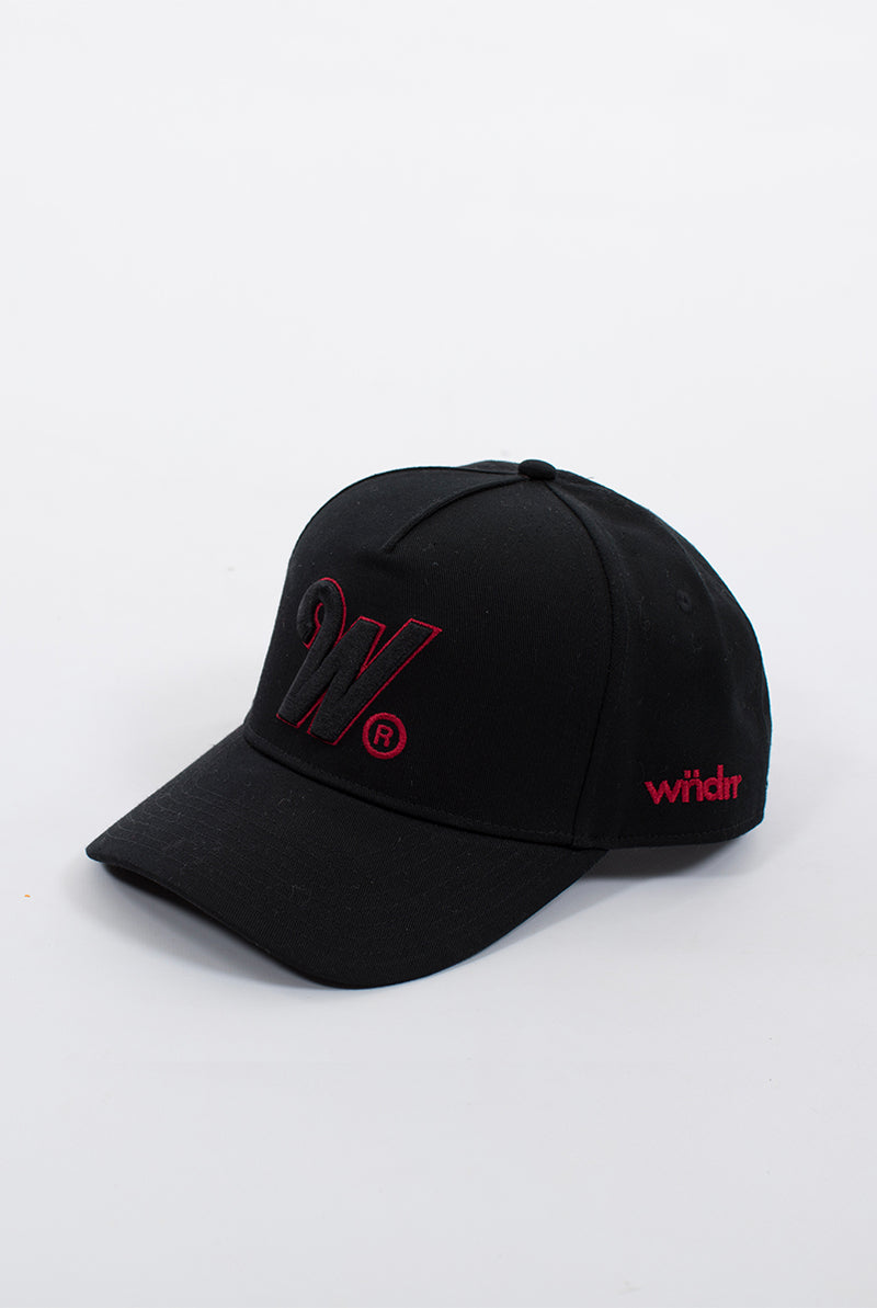 PHILLIPS SNAPBACK CAP - BLACK/BLACK/RED