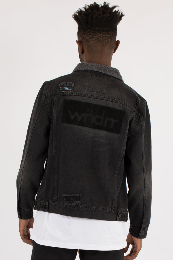 RUPTURE SHERPA DENIM JACKET - BLACK DENIM