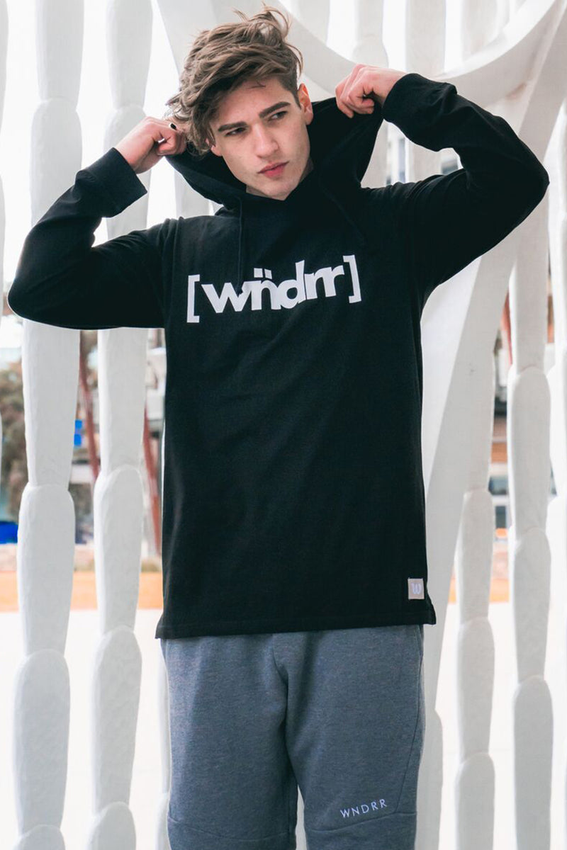 CAGED ACCENT L/S HOODED TEE - BLACK