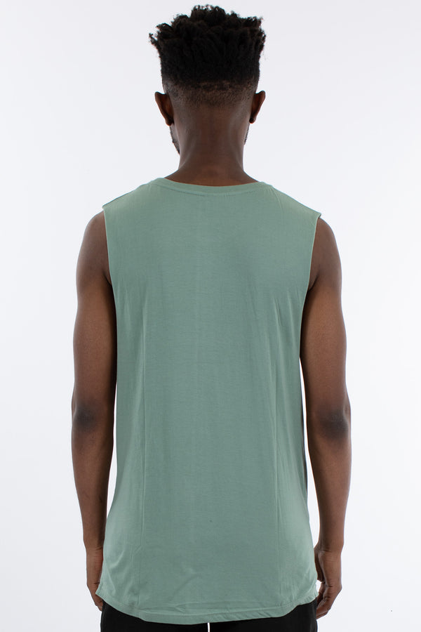 OVERTURNED MUSCLE TOP - OLIVE