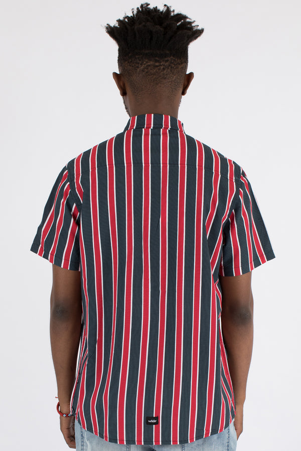 PALACE VERT STRIPE S/S SHIRT - NAVY/RED/WHITE
