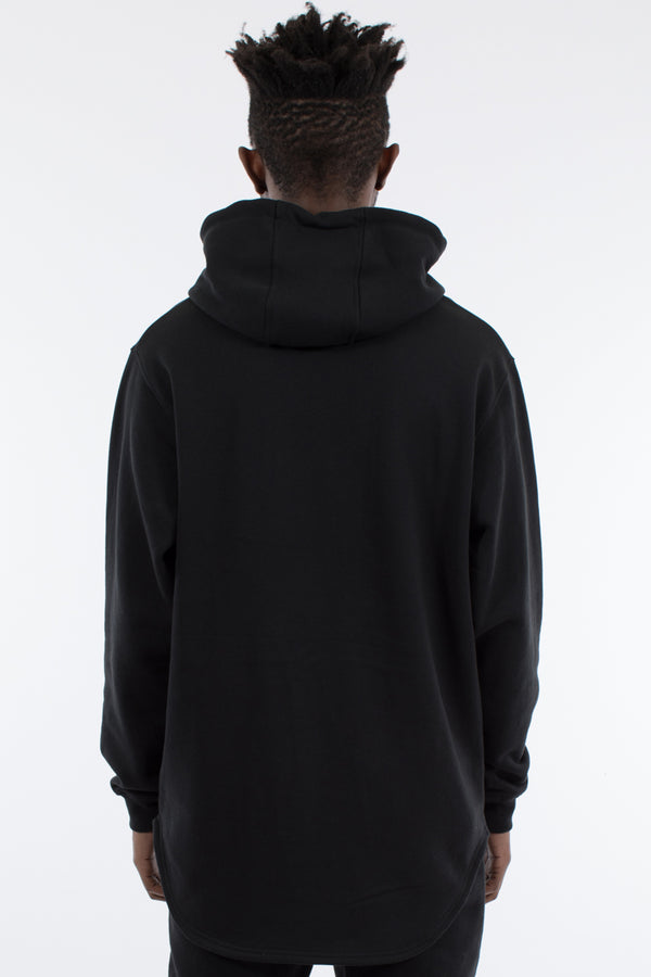ACCENT CURVED HEM HOOD SWEAT - BLACK