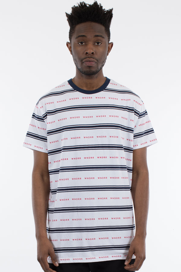 STATUS STRIPE CUSTOM FIT TEE - WHITE