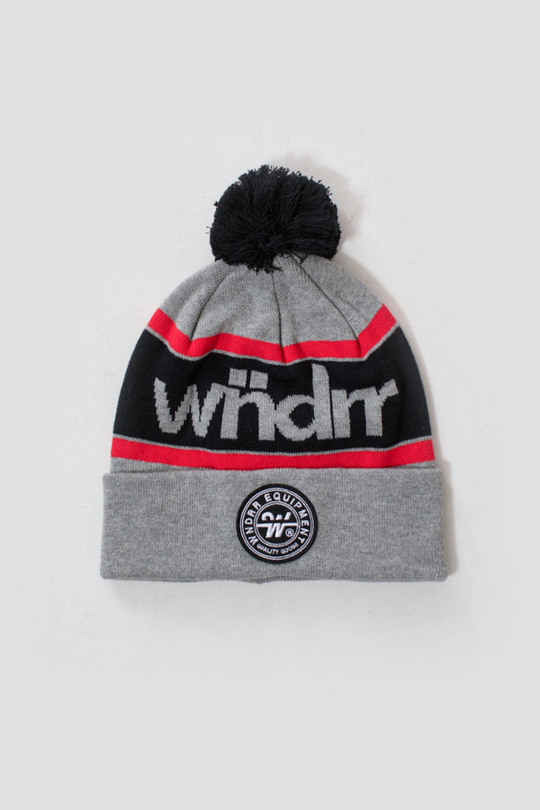 CLUSTER POM POM BEANIE - GREY/RED/BLACK