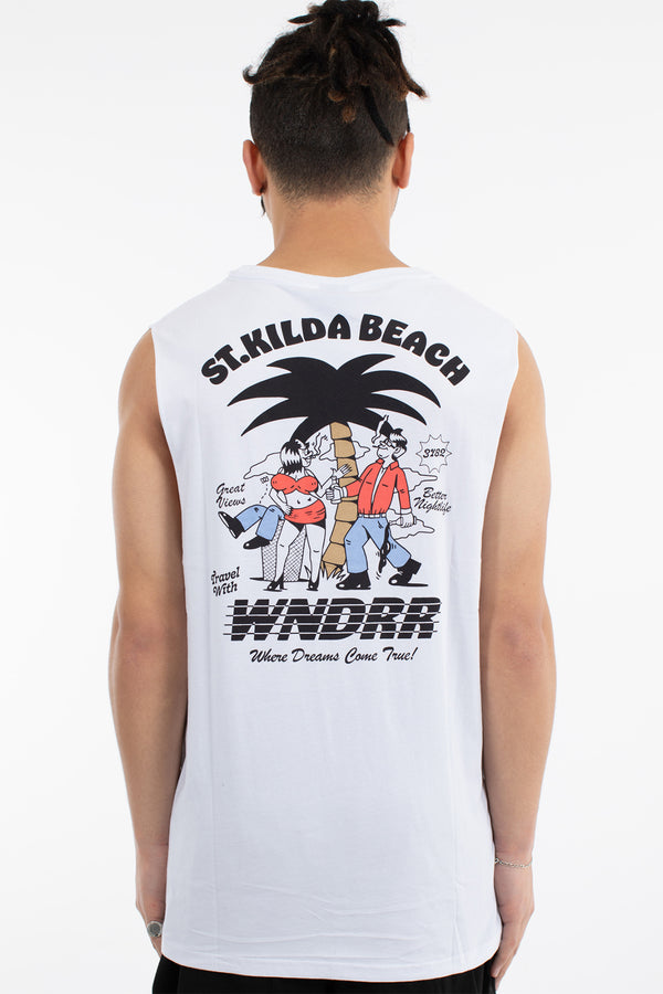ST. KILDA BEACH MUSCLE TOP - WHITE