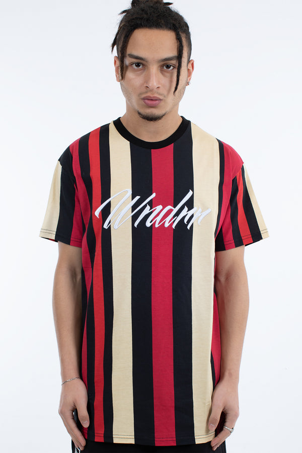 MASS VERT STRIPE CUSTOM FIT TEE - BLACK