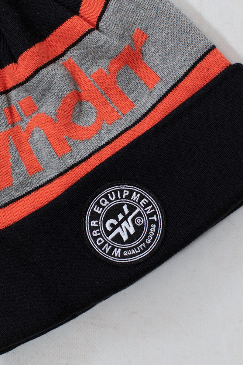 CLUSTER POM POM BEANIE - BLACK/ORANGE/GREY