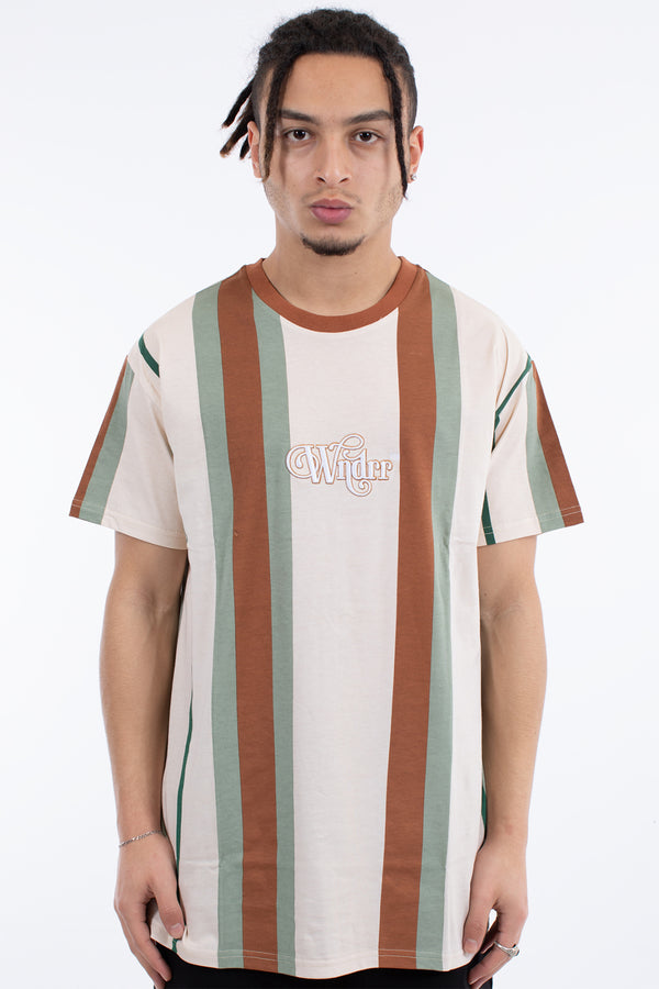 DISPUTE VERT STRIPE CUSTOM FIT TEE - TAN