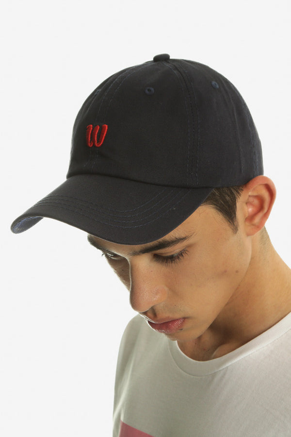 BALLIN 6 PANEL CAP - NAVY/RED