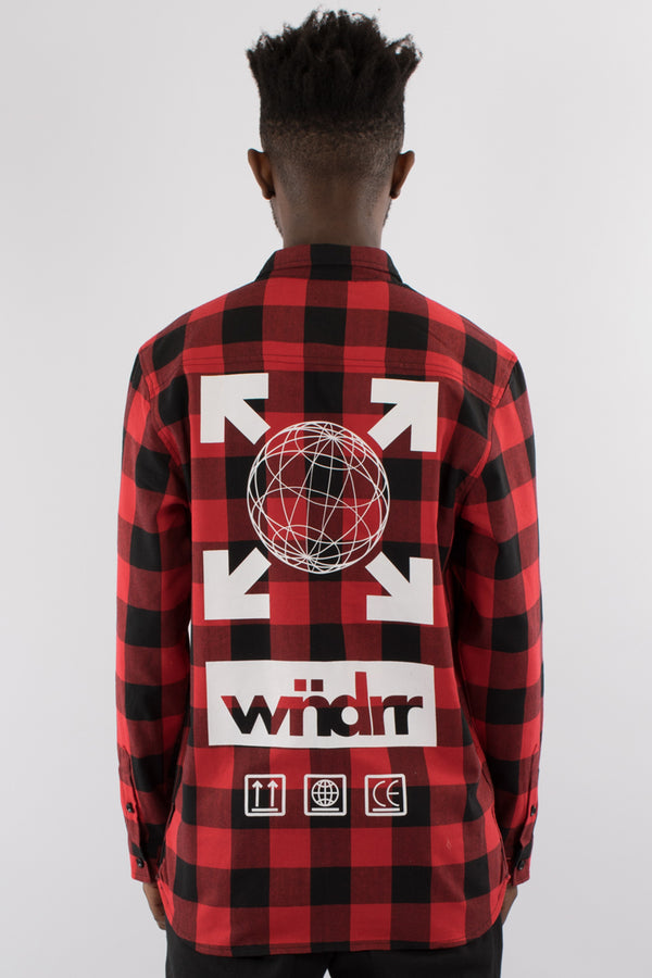 FREIGHT L/S CHECK OVERSHIRT - RED/BLACK