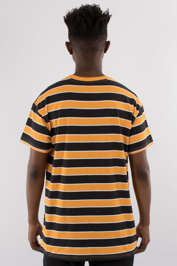 CENTRAL STRIPE CUSTOM FIT TEE - YELLOW/BLACK