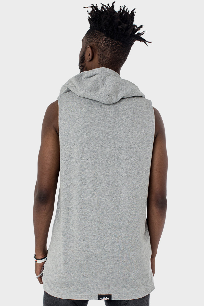 STAPLE HOODED MUSCLE TOP - GREY MARLE