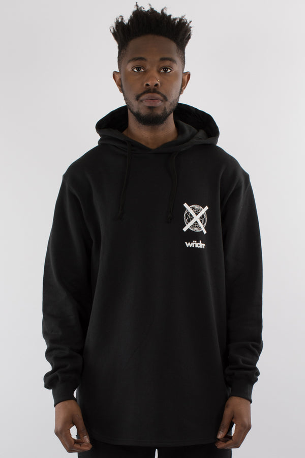 INSURGENT CURVED HEM HOOD SWEAT - BLACK